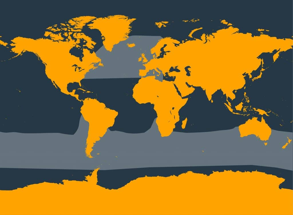 Long-finned pilot whale distribution map