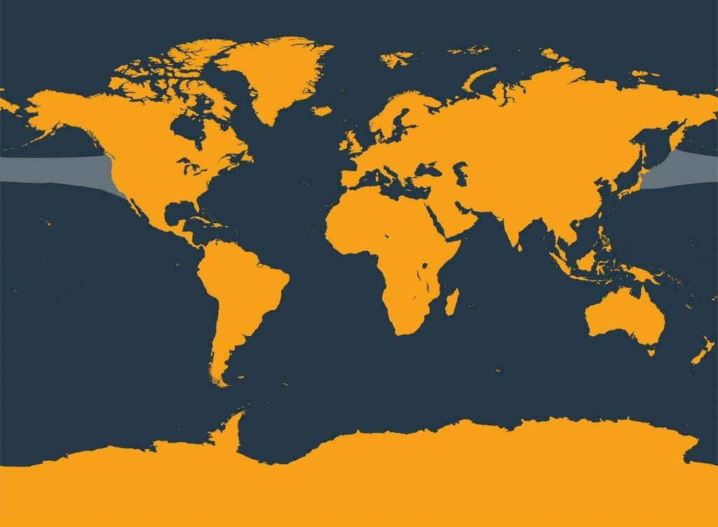 Northern right whale dolphin distribution map